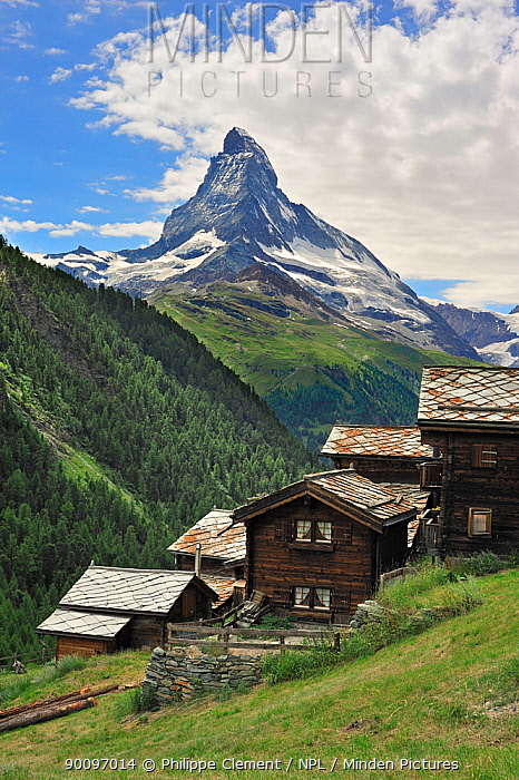 Traditional wooden chalets in Findeln with the Matterhorn behind, Valais, Switzerland, July 2009  -  Philippe Clement/ npl