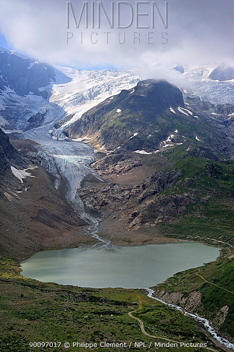 Glacial lake formed by the retreating Stein Glacier, Steingletscher, Urner Alps, Switzerland, July 2009  -  Philippe Clement/ npl