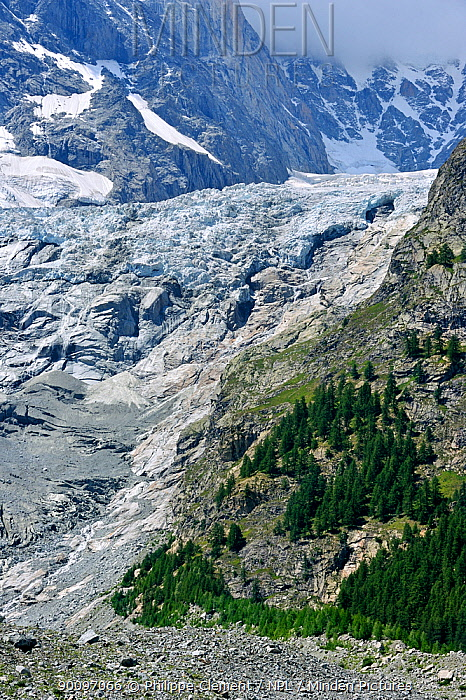 Retreating glacier in the Mont Blanc Massif showing polished bedrock, Italy, July 2009  -  Philippe Clement/ npl