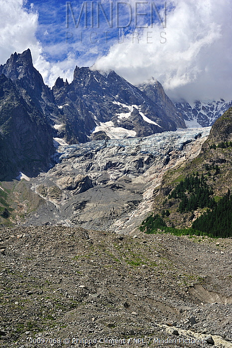 Retreating glacier in the Mont Blanc Massif showing moraine, Italy, July 2009  -  Philippe Clement/ npl