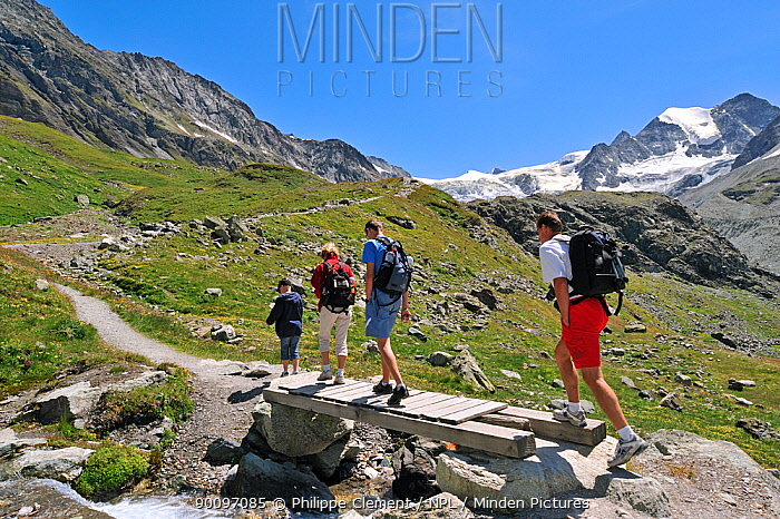 Hikers walking along mountain path towards the Moiry Glacier, Pennine Alps, Valais, Switzerland, July 2009  -  Philippe Clement/ npl