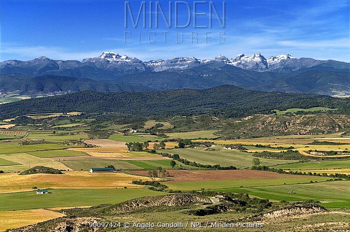 Pyrenees range from Jaca, Aragon, Spain June 2008  -  Angelo Gandolfi/ npl