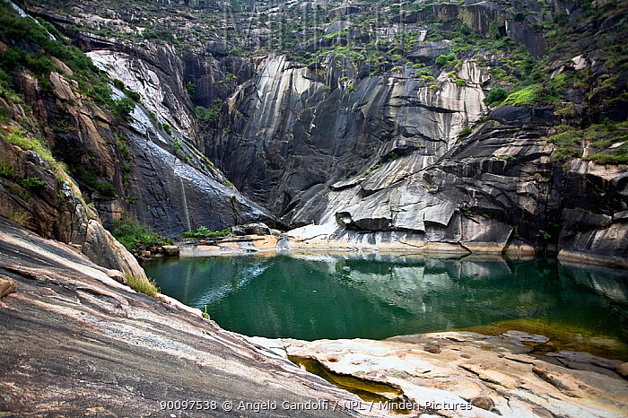 Site of the Rio Xalla waterfall, which used to flow into the sea Galicia, Spain Several dams and artificial lakes have dried it up July 2008  -  Angelo Gandolfi/ npl