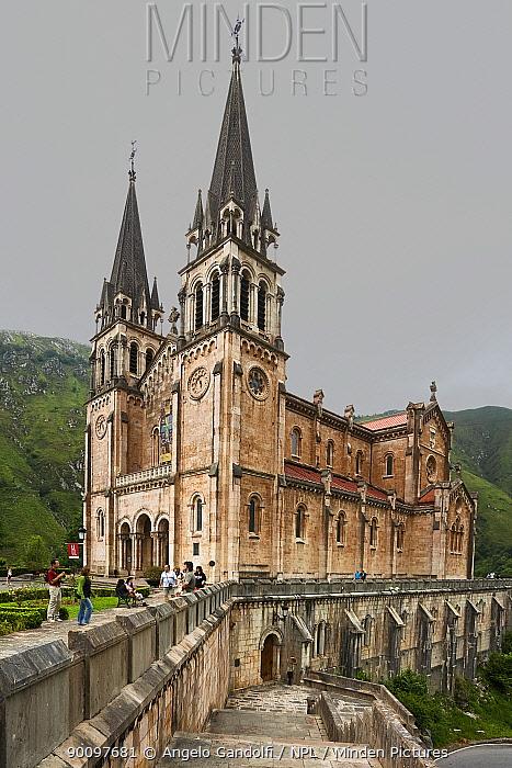 Covadonga Church, Picos de Europa National Park, Spain July 2008  -  Angelo Gandolfi/ npl