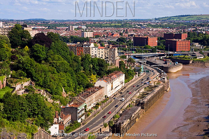 Bristol City (Clifton and Hotwells) and Avon River, viewed from the Clifton Suspension Bridge UK, June 2009  -  Merryn Thomas/ npl