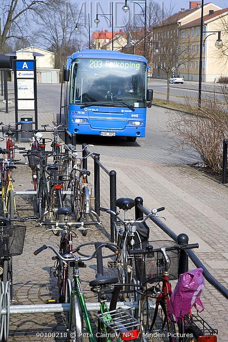 Public bus and 'cycle park' as part of transport system, Sweden, April 2008  -  Pete Cairns/ npl