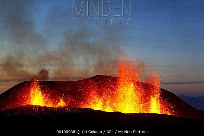 *Volcanic eruption near Eyjafjallajoekull glacier, Iceland, 24, 03, 2010 Volcano dormant since 1821  -  Uri Golman/ npl