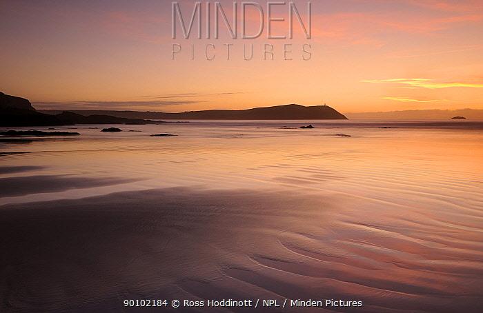 Polzeath Blue Flag beach at sunset, north Cornwall, UK, October 2009  -  Ross Hoddinott/ npl