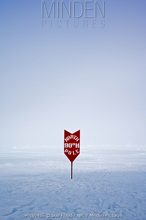 Sign showing the location of the North Pole, June 2008  -  Sue Flood/ npl