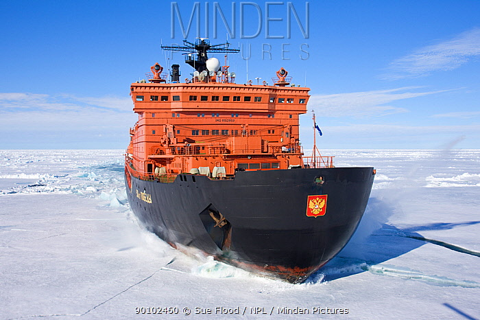 Aerial view of the worlds largest nuclear icebreaker, NS 50 Lyet Pobyedi (50 years of Victory) on the way to the North Pole, Russian Arctic, July 2008  -  Sue Flood/ npl