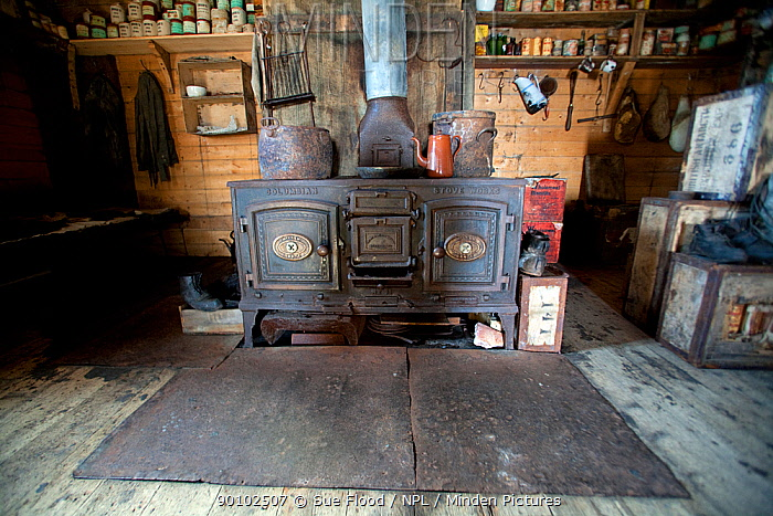 Stove in Shackleton's hut (used by Shackleton and his men during 1907-1909) Cape Royds, Ross Island, Antarctica, December 2008  -  Sue Flood/ npl