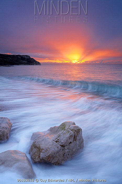 Ringstead Bay at sunrise, Jurassic Coast World Heritage Site, Dorset, England, November 2006  -  Guy Edwardes/ npl