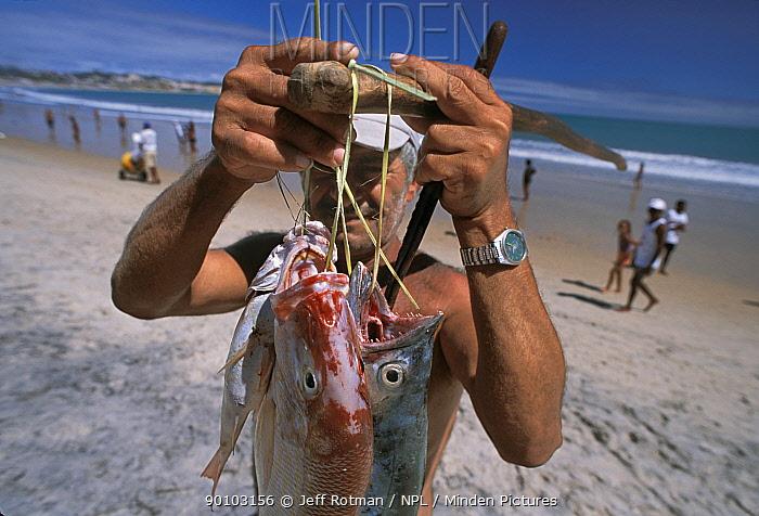 Fisherman displaying fish caught in gill net, Recife, Brazil, Atlantic Ocean, January 2008  -  Jeff Rotman/ npl