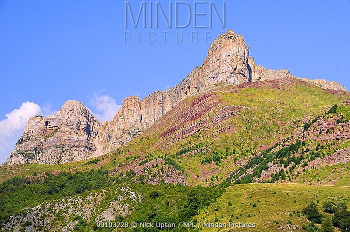 Chipeta Alta peak and karst limestone escarpment leading to Sayestico peak, Spanish Pyrenees, above Hecho valley, Huesca, Aragon, Spain July 2009  -  Nick Upton/ npl