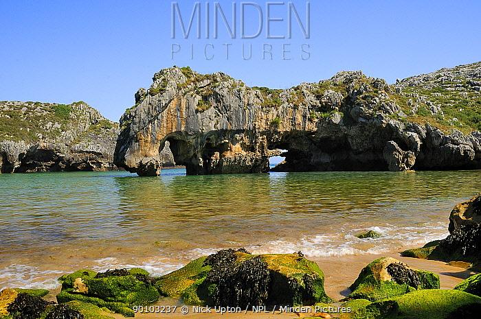 Cuevas del mar (Sea caves) beach with arches carved by the sea through karst limestone rocks Near Llanes, Asturias, Spain July 2009  -  Nick Upton/ npl