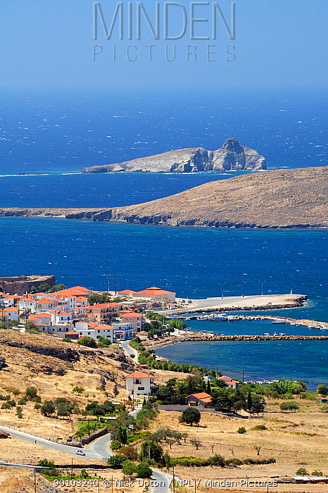 Sigri fishing village and harbour, Isle of Lesbos, Lesvos, Greece August 2009  -  Nick Upton/ npl