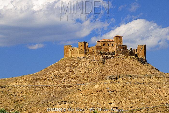 Medieval hilltop Castle Abbey of Montearagon, built in 1086, near Huesca, Aragon, Spain July 2009  -  Nick Upton/ npl
