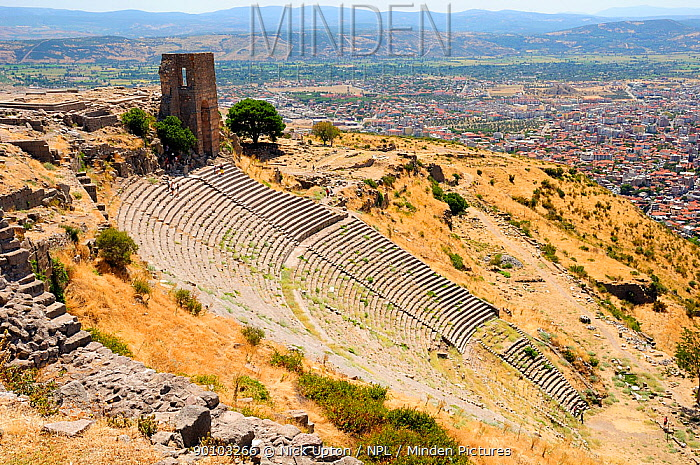 Hellenistic, ancient Greek amphitheatre at the Acropolis of Pergamon with the modern city of Bergama in the background, Turkey August 2009  -  Nick Upton/ npl