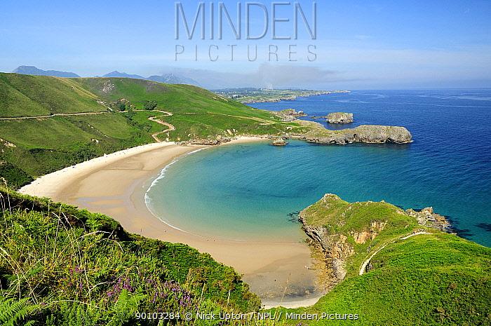 Torimbia beach, a popular beach for naturists, Near Llanes, Asturias, Spain July 2009  -  Nick Upton/ npl