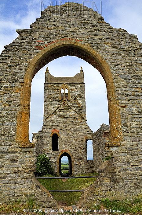 Ruins of 15th century St Michael's church on Barrow Mump hill, Burrowbridge, Somerset Levels UK June 2009  -  Nick Upton/ npl