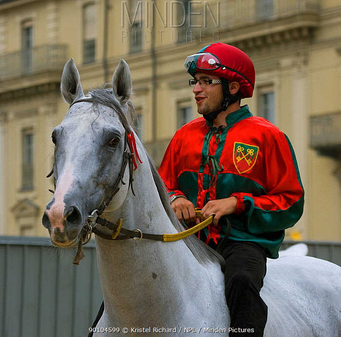 One of the Fantini (jockeys), in the colours of a particular district of Asti, takes part in the single trials on the Friday before the Palio, Asti, Piedmont, Italy All the jockeys ride bareback, September 2009  -  Kristel Richard/ npl