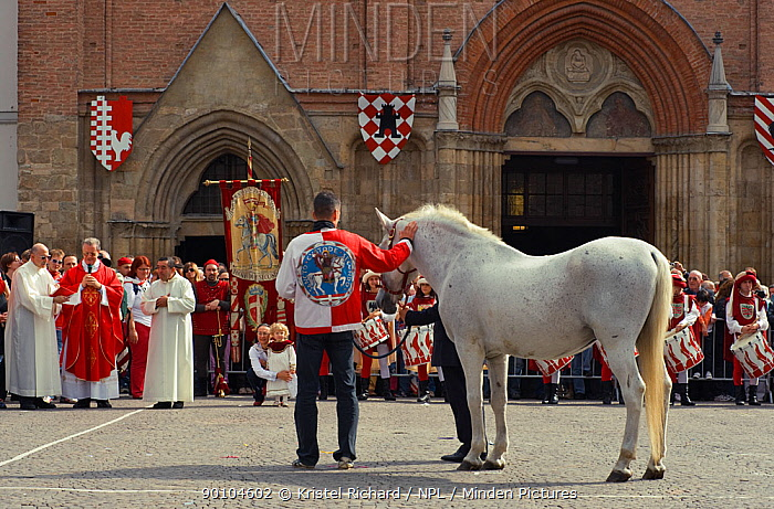 Each Parish church participating in the Palio blesses one horse and a jockey on the Sunday of the Palio, at 10am, Asti, Piedmont, Italy Here, the Parish church of San Secondo, September 2009  -  Kristel Richard/ npl