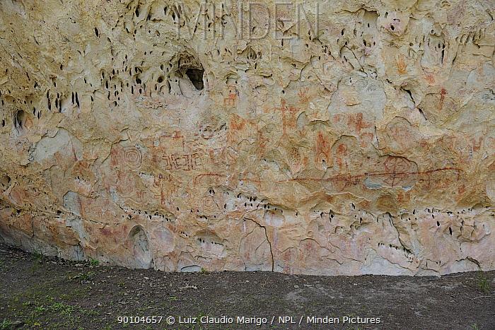 Rupestrian inscriptions made by pre-Colombian men, dated 10,000 years ago, in Sete Cidades National Park, municipality of Piracuruca, Piaua� State, Northeastern Brazil March 2009  -  Luiz Claudio Marigo/ npl