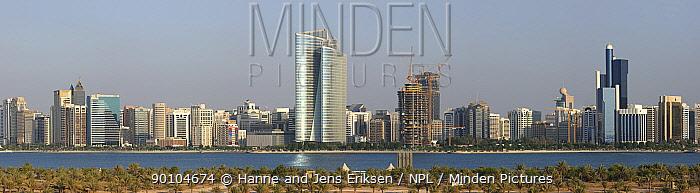 Abu Dhabi City, panorama from Lulu Island, composite, Abu Dhabi, UAE, November 2008  -  Hanne & Jens Eriksen/ npl