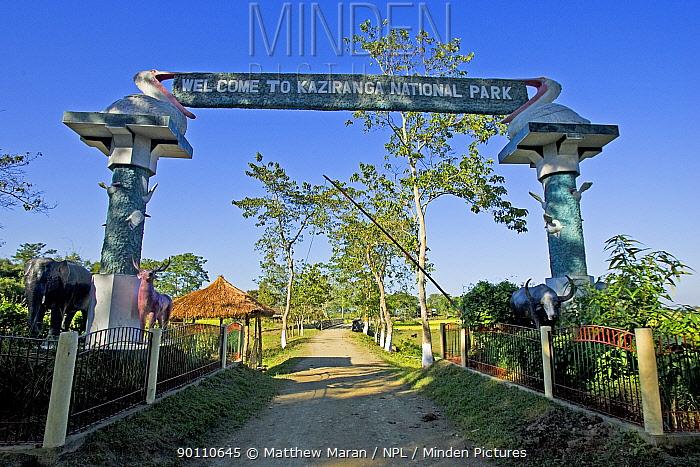Entrance arch to Kaziranga National Park, Assam, India, November 2008  -  Matthew Maran/ npl