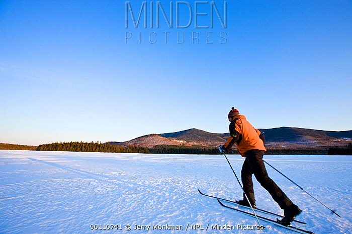 Man cross-country skiing on First West Branch Pond with White Cap Mountain is in the distance Greenville, Maine, USA, March 2009, Model released  -  Jerry Monkman/ npl