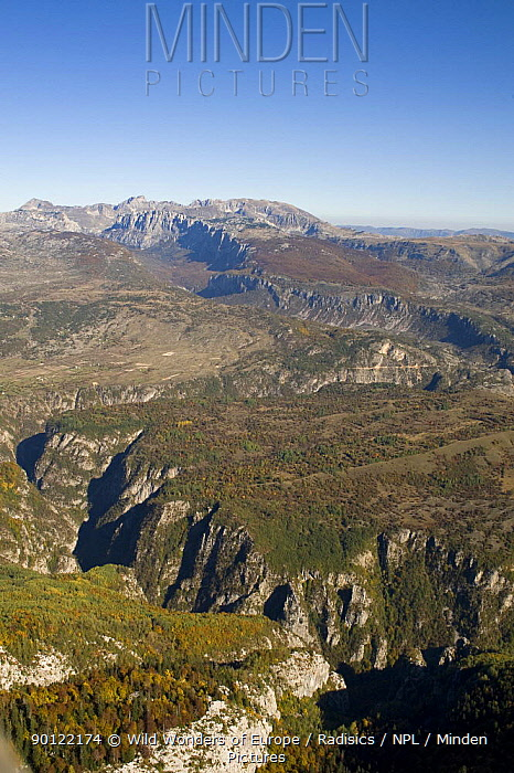 Aerial view of Nevidio, Komarnica Canyon, Durmitor NP, Montenegro, October 2008  -  WWE/ Radisics/ npl