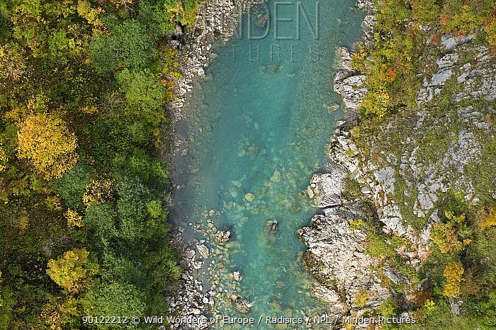 Tara River viewed from Djurdjevica Tara bridge, Tara Canyon, Durmitor NP, Montenegro, October 2008  -  WWE/ Radisics/ npl