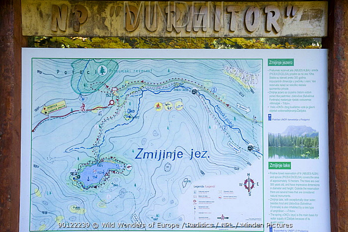 Map and information sign about Zmijinje Lake and the surrounding area, Durmitor NP, Montenegro, October 2008  -  WWE/ Radisics/ npl