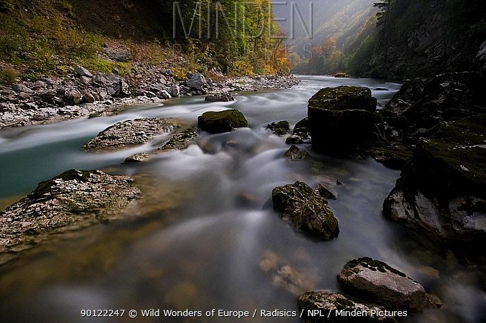 Bjelovac Cascade in moonlight, River Tara, Durmitor NP, Montenegro, October 2008  -  WWE/ Radisics/ npl