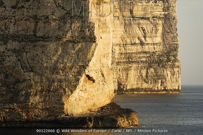 Cliffs on the Dwejra coast, Gozo, Malta, May 2009  -  WWE/ Zankl/ npl