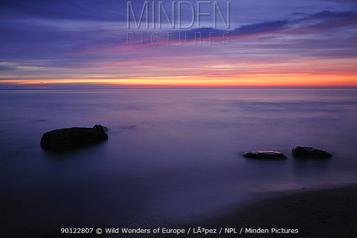 Baltic sea with rocks in water at sunset, Latvia, June 2009  -  WWE/ Lopez/ npl