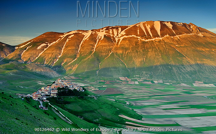 Castelluccio di Norcia and Monte Vettore, Monti Sibillini National Park, Umbria, Italy, May 2009 BOOK and WWE OUTDOOR EXHIBITION NOT AVAILABLE FOR GREETING CARDS OR CALENDARS  -  WWE/ Bartocha/ npl