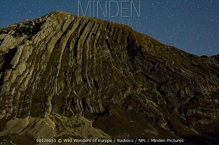 Prutas peak, showing geological folds, at night, Durmitor NP, Montenegro, October 2008  -  WWE/ Radisics/ npl