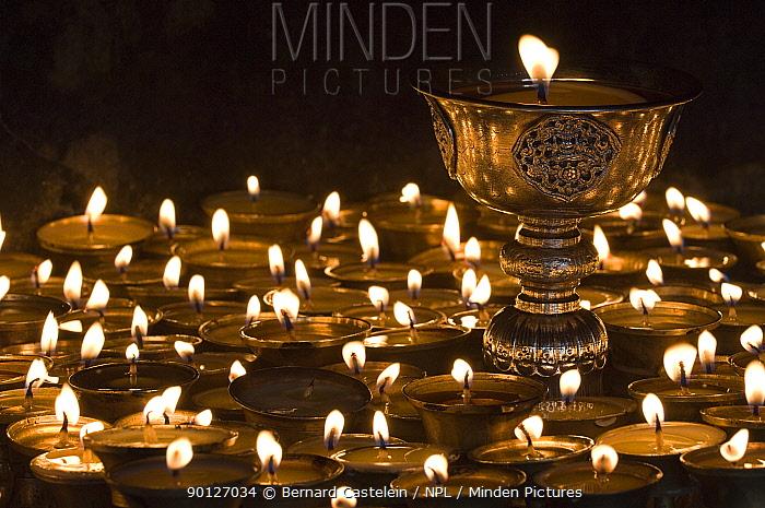Inside the butterlamp room in the Enchey Monastery, Gangtok, Sikkim, India  -  Bernard Castelein/ npl