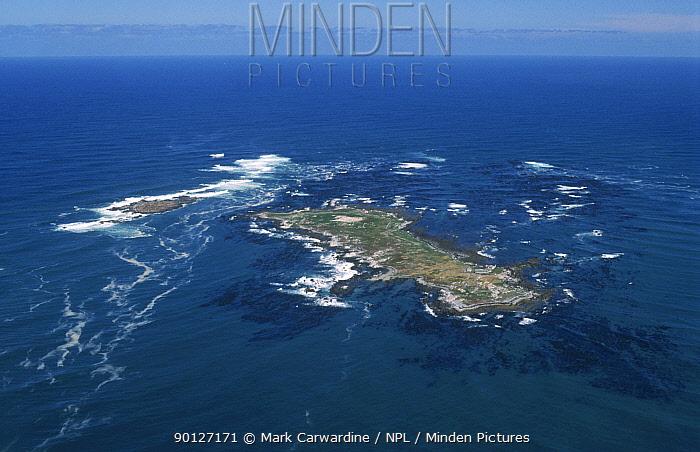 Aerial view of Dyer Island, Western Cape, South Africa, major shark hotspot  -  Mark Carwardine/ npl