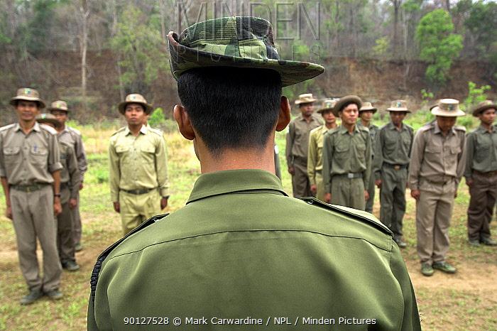 Anti-poaching patrol training at park headquarters, Alaungdaw Kathapa National Park, north-western Burma (Myanmar)  -  Mark Carwardine/ npl