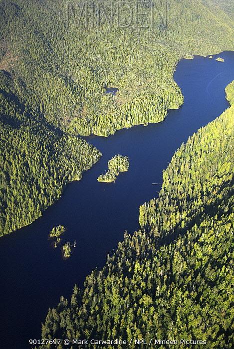 Aerial view of The Great Bear Rainforest, British Columbia, Canada  -  Mark Carwardine/ npl