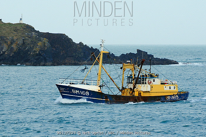 Brixham beam trawler Three Sons passing Stepper Point as it enters the mouth of the Camel Estuary, near Padstow, Cornwall, UK, April 2010  -  Nick Upton/ npl