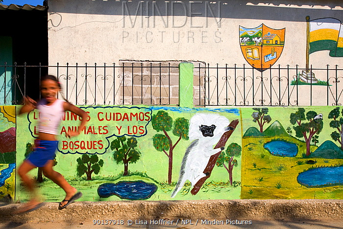 Young girl runs past mural which promotes protection of the Cotton-top tamarin Los Limites, Colombia, South America February 2008  -  Lisa Hoffner/ npl
