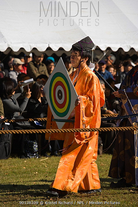 At the start of a Yabusame (Japanese mounted archery event), the target is put in place by a member of the Takeda School of Horseback Archery, at Meiji Jingu Shrine, Tokyo, Tokyo Prefecture, Japan 2009  -  Kristel Richard/ npl