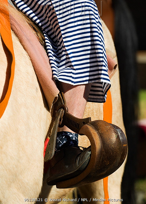 Details of the training costume, inner shoe and stirrup from a samurai (warrior) from the Takeda School of Horseback Archery, during the training prior to a Yabusame (Japanese mounted archery), at Meiji Jingu Shrine, Tokyo, Tokyo Prefecture, Japan 2009  -  Kristel Richard/ npl