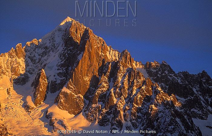 Evening light on the Aiguille Verte, nr Mont Blanc, Savoie, France  -  David Noton/ npl