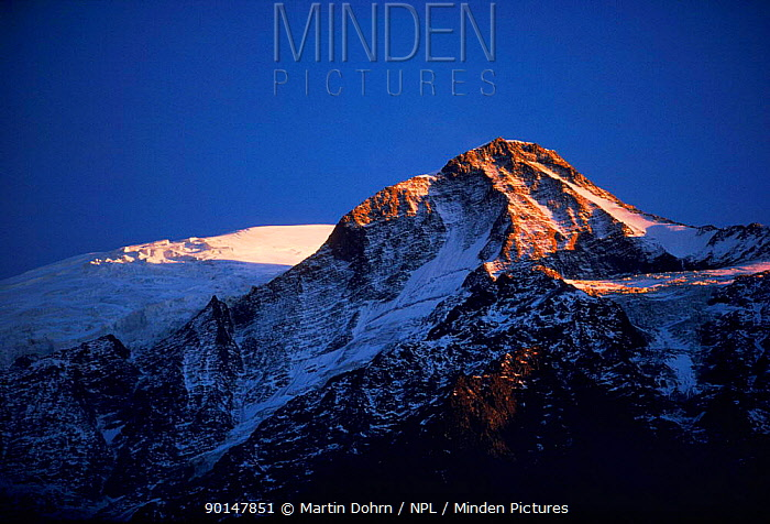 Mont Blanc at sunset Italian Alps, Italy, Europe  -  Martin Dohrn/ npl