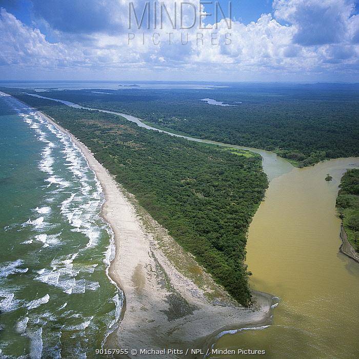 Aerial view of Mosquitio coast (NE Caribbean coast) of Honduras, Central America 2006  -  Michael Pitts/ npl