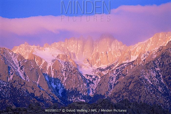 Sunrise over Mount Whitney with spring storm, Eastern Sierras, Alabama Hills California, USA  -  David Welling/ npl